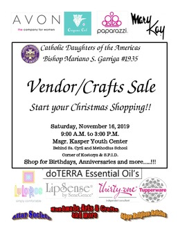 Catholic Daughters of the Americas Vender/Crafts Sale