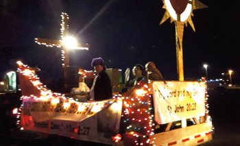 Buc Days float, a reminder of naming of the city and upcoming feast day