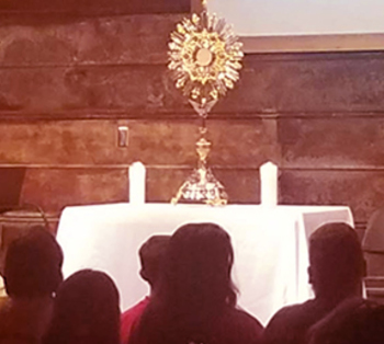Adoration at Cathedral Youth and Young Adult Night