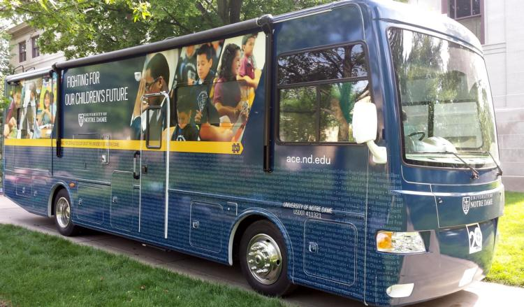 """The University of Notre Dame's Alliance for Catholic Education rolls into Corpus Christi with the """"Fighting for Our Children's Future National Bus Tour,"""" a ..."""
