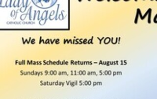 Welcome Back to Mass at OLA