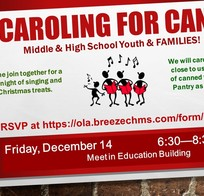 Caroling for Cans for Middle School & High School Youth & Families