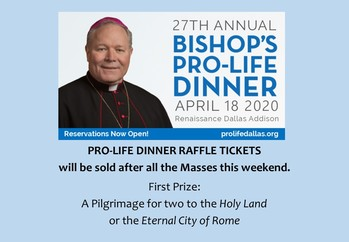 27th Annual Bishop's Pro-Life Dinner - VIRTUAL