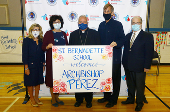Photo Gallery of Archbishop Nelson Perez's visit to St. Bernadette School