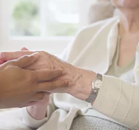 holding hands of elderly woman | Caregiver Support Group | St John the Apostle Catholic Church | Leesburg VA