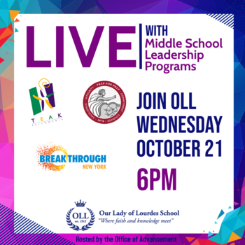 Middle School and High School Leadership Programs Wednesday, October 21 at 6pm