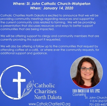 Stress Management in Rural Farm Communities through Catholic Charities ND