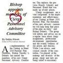 Bishop appoints members of Clergy Personnel Advisory Committee