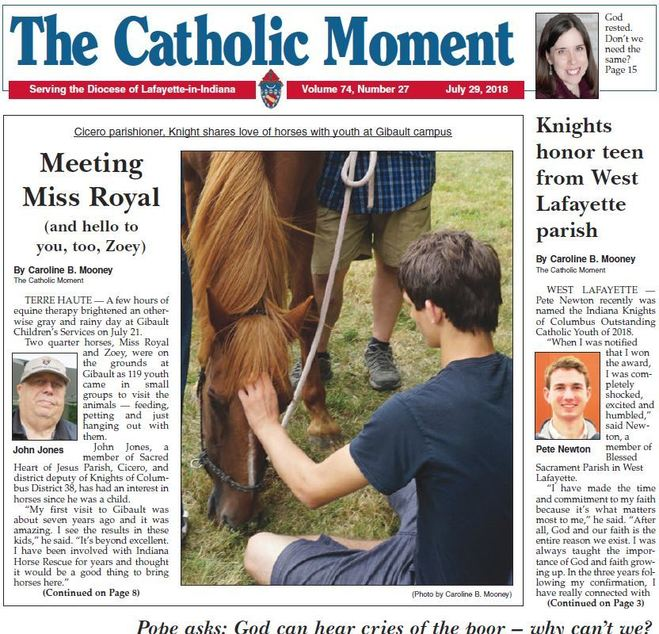 catholic moment newspaper diocese lafayette indiana horses cicero knights columbus pope poor