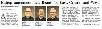 Bishop announces new Deans for East, Central and West
