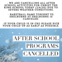 All after school activities cancelled