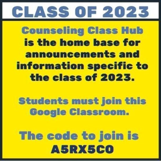 Class of 2023 Google Classroom join code: A5RX5CO