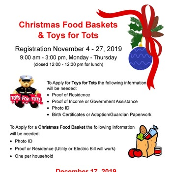 Christmas Food Baskets and Toys for Tots Registration
