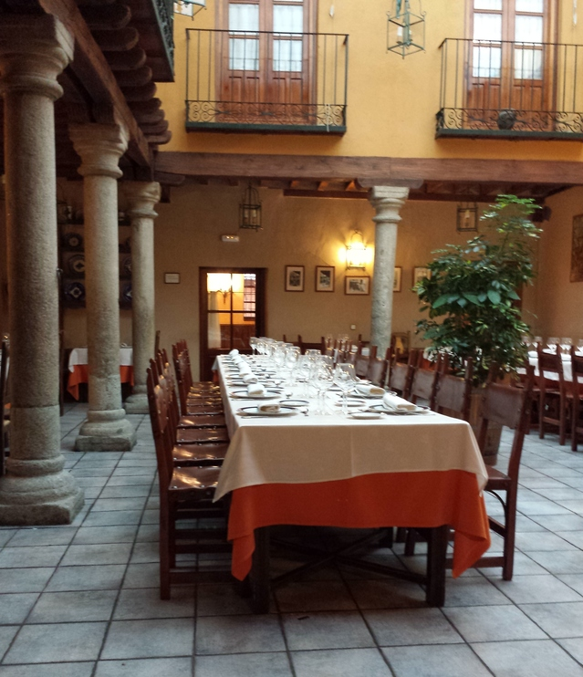 Dinner table for a setting of more than 12 persons
