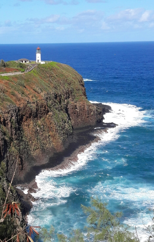 Lighthouse on top of a cliff ln Hawaii