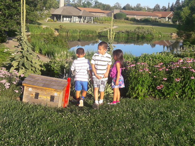 Children by pond playing near wooden toy home