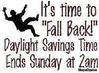 SET YOUR CLOCKS BACK ONE ( 1 ) HOUR