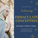 Immaculate Conception Dec 8th Mass at 7:30am