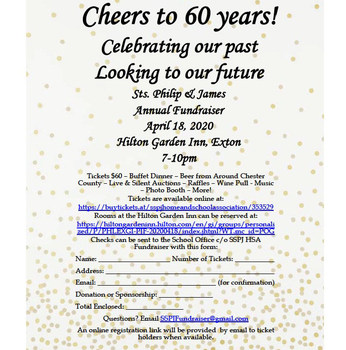 2020 SSPJ HSA Fundraiser: Cheers to 60 Years!  <br /> April 18, 2020  <br />Hilton Garden Inn, Exton