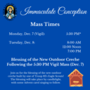 Feast of the Immaculate Conception Mass Times & Creche Blessing!