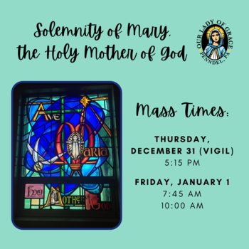 Solemnity of Mary, the Holy Mother of God Mass Schedule