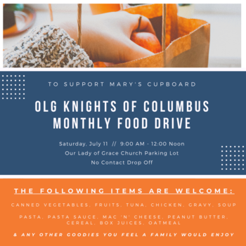 OLG Knights of Columbus Monthly Food Drive for Mary's Cupboard