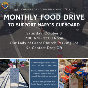 Knights of Columbus Food Drive for Mary's Cupboard + COLLECTION FOR VETERANS & HOMELESS
