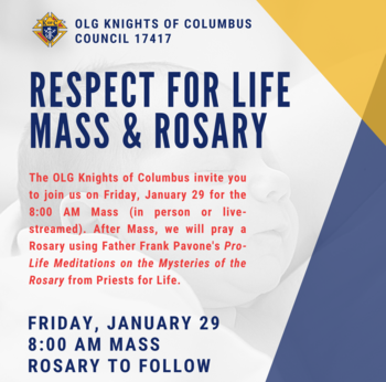 Respect For Life Mass & Rosary (& Other Pro-Life Events!)
