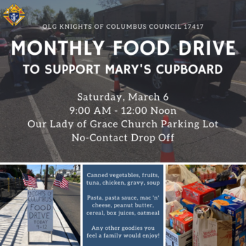Knights of Columbus Monthly Food Drive for Mary's Cupboard