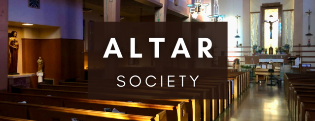 "The interior of Incarnation Catholic Church with text in the middle that reads, ""Altar Society."""