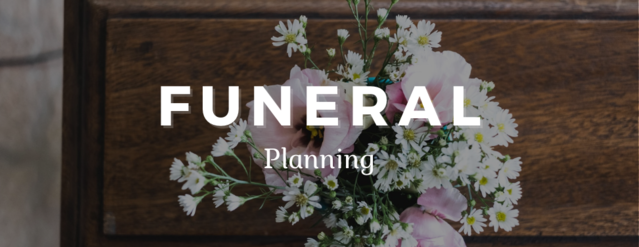 """A bouquet of roses set atop a wooden coffin. Text in the middle reads, """"Funeral Planning."""""""