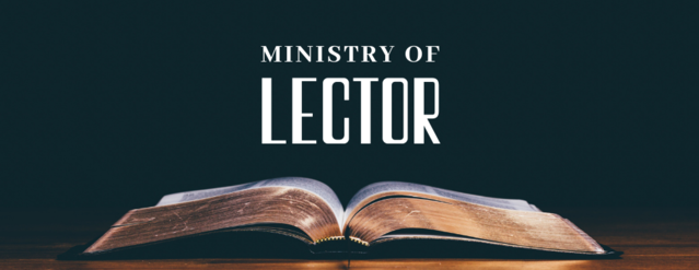 "An open bible on a wooden countertop with text above it that reads, ""Ministry of Lector."""