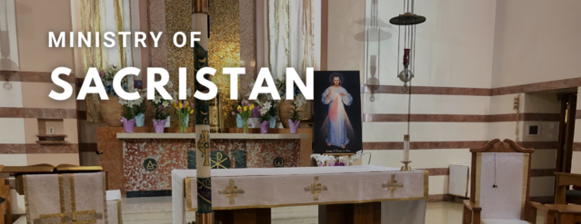 "The altar of Incarnaton Catholic Church with text above it that reads, ""Ministry of Sacristan."""