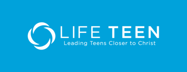 White Life Teen logo on a blue background.