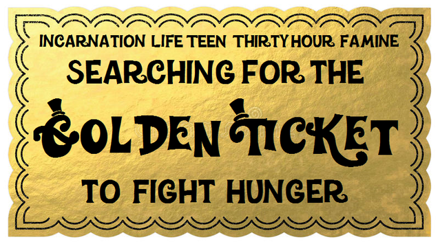 Golden ticket with the words,