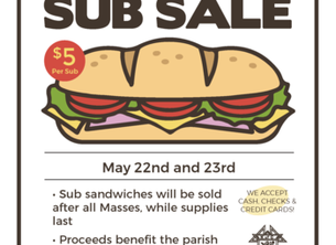Knights of Columbus Sub Sale this Weekend