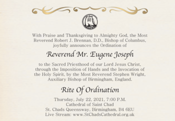 See Deacon Eugene's Ordination and Mass of Thanksgiving via Livestream