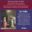 Pope Francis invites all to join him in prayer at same time March 25 at noon (7AM EST)