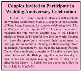 Are you celebrating 25th or 50th Wedding Anniversary in 2020?