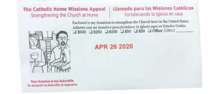 Second Collection is For The Catholic Home Missions Appeal