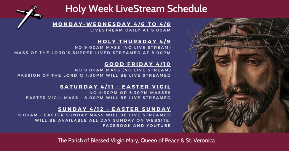 Holy Week LiveStream Schedule