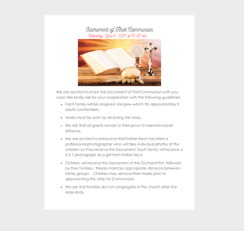 Sacrament of First Communion - Saturday June, 5, 2021, at 10:30am