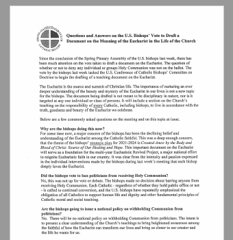 Questions and Answers on the U.S. Bishops' Vote