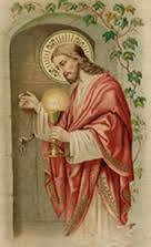 jesus knocking on door with eucharist
