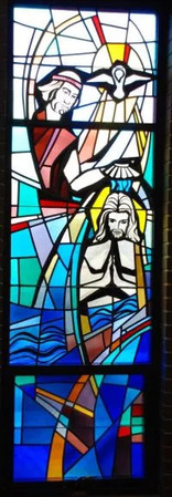 Baptism stained glass window