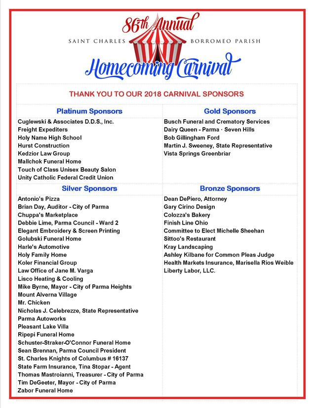 86th annual homecoming carnival july 11, 12, 13, 14, 15 ~ 2018 | st
