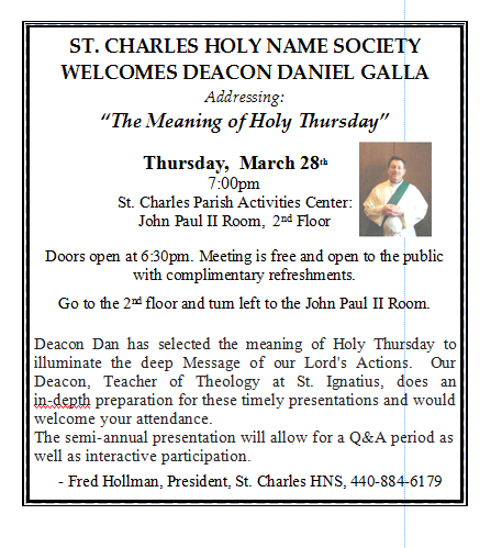 Holy Name Society Welcomes Deacon Daniel Galla | St  Charles