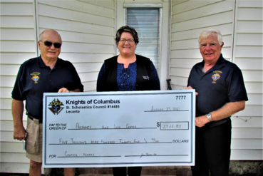 Knights Present Check to Pregnancy and Family Life Center