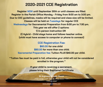 2020 - 2021 CCE REGISTRATION - Inscripciones de Catesimo