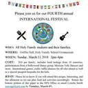 4th Annual International Festival - March 11th - 2pm to 4pm - Griffin Hall